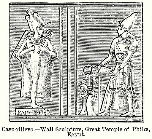 Cavo-Rilievo. – Wall Sculpture, Great Temple of Philae, Egypt. Illustration for Blackie's Modern Cyclopedia (1899).