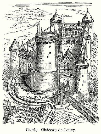 Castle – Chateau de Coucy. Illustration for Blackie's Modern Cyclopedia (1899).