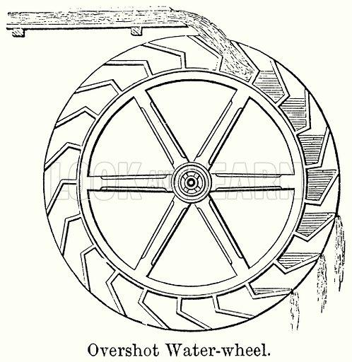 Overshot Water-Wheel. Illustration for Blackie's Modern Cyclopedia (1899).