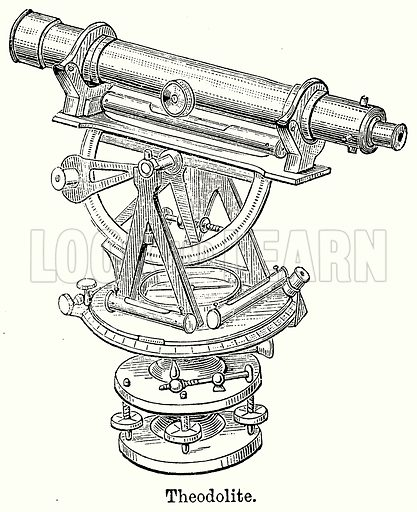 Theodolite. Illustration for Blackie's Modern Cyclopedia (1899).