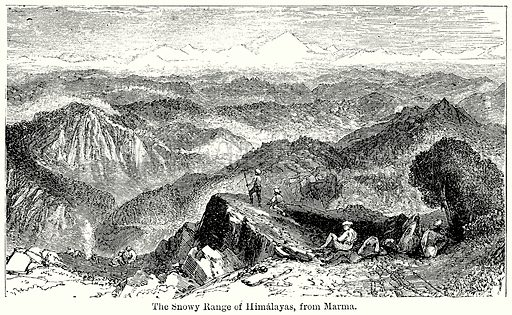The Snowy Range of Himalayas, from Marma. Illustration for Blackie's Modern Cyclopedia (1899).
