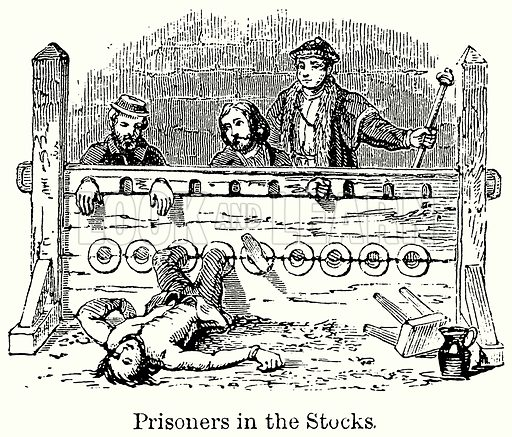 Prisoners in the Stocks. Illustration for Blackie's Modern Cyclopedia (1899).
