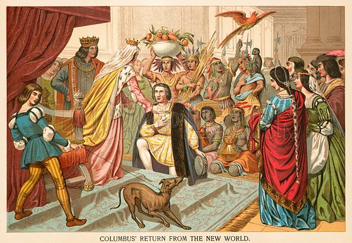Columbus's return from the New World. Illustration from Columbus and Columbia (Manufacturers' Book Co, c 1890).