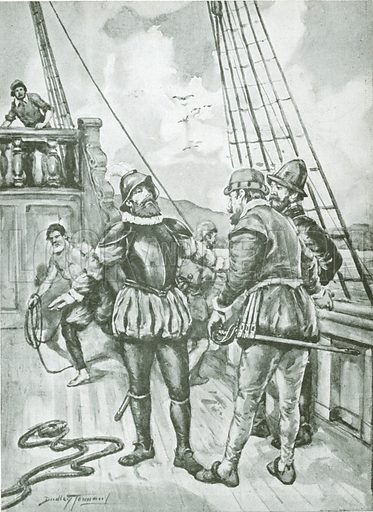 Magellan asserting his authority over Juan de Cartagena.  Illustration for Cassell's Romance of Famous Lives edited by Harold Wheeler (c 1930).
