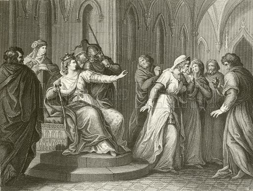 The Empress Matilda refusing to release King Stephen. Illustration from unidentified 19th century history of England.