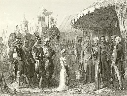 Submission of the Maharajah Dhuleep Singh to Sir Henry Hardinge. Illustration from unidentified 19th century history of England.
