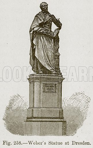 Weber's Statue at Dresden. Illustration for The History of Music by Emil Naumann (Cassell, c 1890).