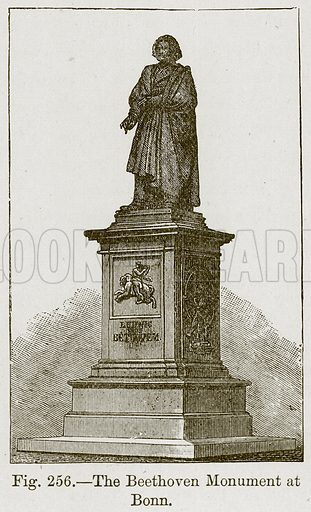 The Beethoven Monument at Bonn. Illustration for The History of Music by Emil Naumann (Cassell, c 1890).