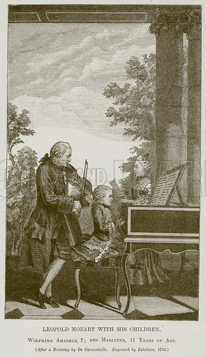 Leopold Mozart with his Children, Wolfgang Amadeus, 7; and Marianne, 11 Years of Age. Illustration for The History of Music by Emil Naumann (Cassell, c 1890).