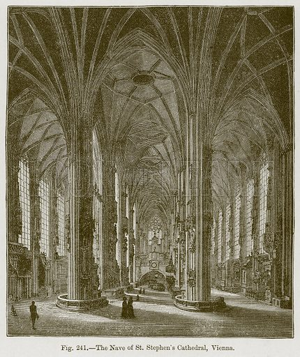 The Nave of St Stephen's Cathedral, Vienna. Illustration for The History of Music by Emil Naumann (Cassell, c 1890).