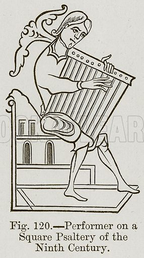 Performer on a Square Psaltery of the Ninth Century. Illustration for The History of Music by Emil Naumann (Cassell, c 1890).