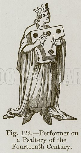 Performer on a Psaltery of the Fourteenth Century. Illustration for The History of Music by Emil Naumann (Cassell, c 1890).