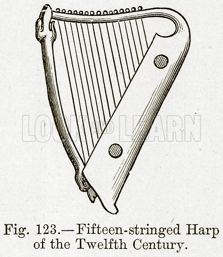Fifteen-Stringed Harp of the Twelfth Century. Illustration for The History of Music by Emil Naumann (Cassell, c 1890).