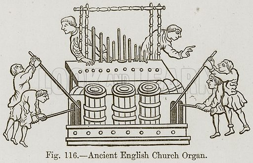 Ancient English Church Organ. Illustration for The History of Music by Emil Naumann (Cassell, c 1890).