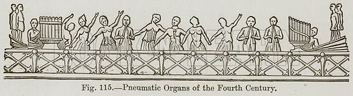 Pneumatic Organs of the Fourth Century. Illustration for The History of Music by Emil Naumann (Cassell, c 1890).