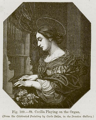 St Cecilia Playing on the Organ. Illustration for The History of Music by Emil Naumann (Cassell, c 1890).