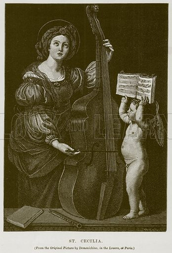 St Cecilia. Illustration for The History of Music by Emil Naumann (Cassell, c 1890).
