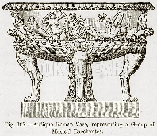 Antique Roman Vase, Representing a Group of Musical Bacchantes. Illustration for The History of Music by Emil Naumann (Cassell, c 1890).
