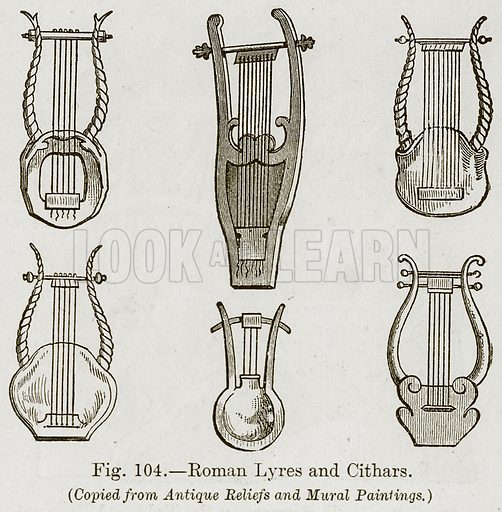 Roman Lyres and Cithars. Illustration for The History of Music by Emil Naumann (Cassell, c 1890).