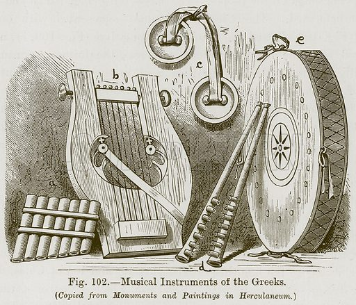 Musical Instruments of the Greeks. Illustration for The History of Music by Emil Naumann (Cassell, c 1890).