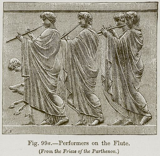 Performers on the Flute. Illustration for The History of Music by Emil Naumann (Cassell, c 1890).