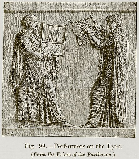 Performers on the Lyre. Illustration for The History of Music by Emil Naumann (Cassell, c 1890).