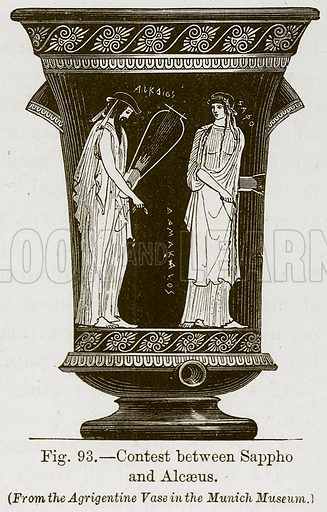 Contest between Sappho and Alcaeus. Illustration for The History of Music by Emil Naumann (Cassell, c 1890).