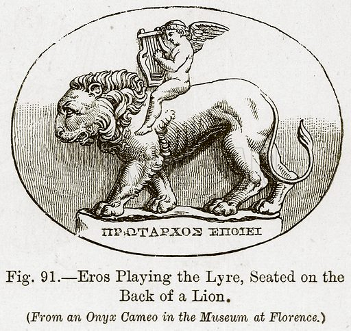 Eros Playing the Lyre, Seated on the Back of a Lion. Illustration for The History of Music by Emil Naumann (Cassell, c 1890).