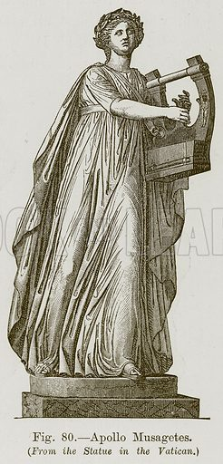 Apollo Musagetes. Illustration for The History of Music by Emil Naumann (Cassell, c 1890).