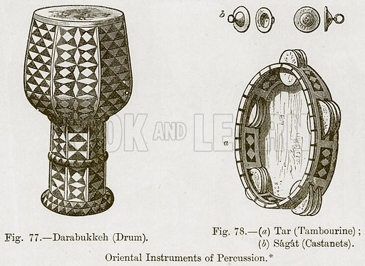Darabukkeh (Drum). (a) Tar (Tambourine); (b) Sagat (Castaoets). Oriental Instruments of Percussion. Illustration for The History of Music by Emil Naumann (Cassell, c 1890).