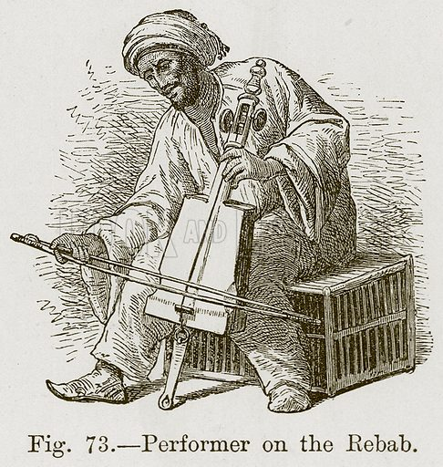 Performer on the Rebab. Illustration for The History of Music by Emil Naumann (Cassell, c 1890).