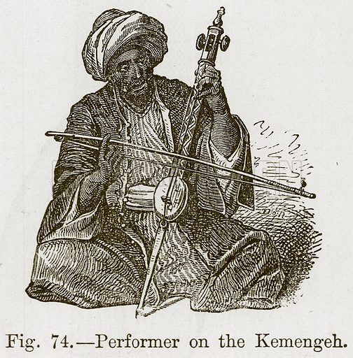 Performer on the Kemengeh. Illustration for The History of Music by Emil Naumann (Cassell, c 1890).