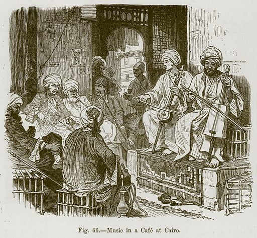 Music in a Cafe at Cairo. Illustration for The History of Music by Emil Naumann (Cassell, c 1890).