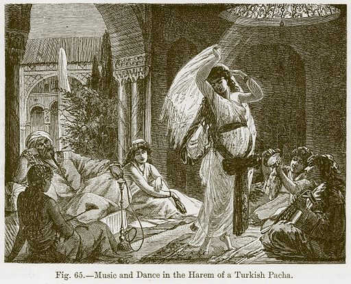 Music and Dance in the Harem of a Turkish Pacha. Illustration for The History of Music by Emil Naumann (Cassell, c 1890).
