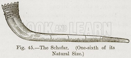 The Schofar. (One-Sixth of its Natural Size.) Illustration for The History of Music by Emil Naumann (Cassell, c 1890).