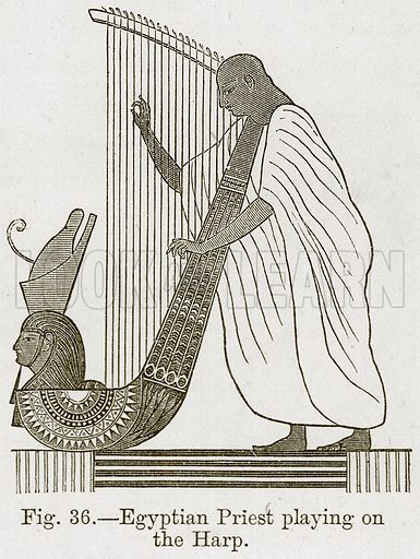 Egyptian Priest Playing on the Harp. Illustration for The History of Music by Emil Naumann (Cassell, c 1890).