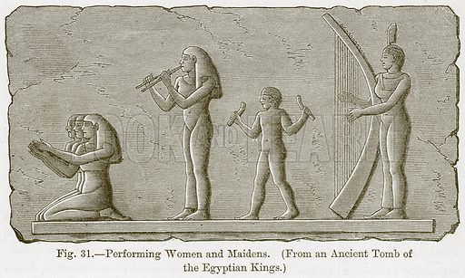 Performing Women and Maidens. Illustration for The History of Music by Emil Naumann (Cassell, c 1890).
