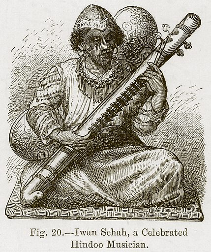 Iwan Schah, a Celebrated Hindoo Musician. Illustration for The History of Music by Emil Naumann (Cassell, c 1890).