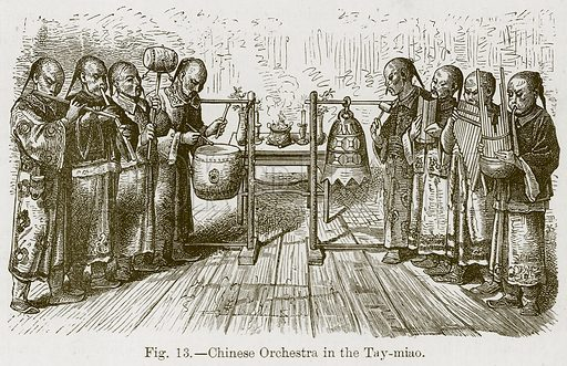 Chinese Orchestra in the Tay-Miao. Illustration for The History of Music by Emil Naumann (Cassell, c 1890).