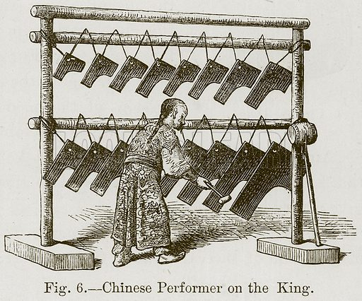 Chinese Performer on the King. Illustration for The History of Music by Emil Naumann (Cassell, c 1890).