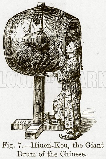Hiuen-Kou, the Giant Drum of the Chinese. Illustration for The History of Music by Emil Naumann (Cassell, c 1890).