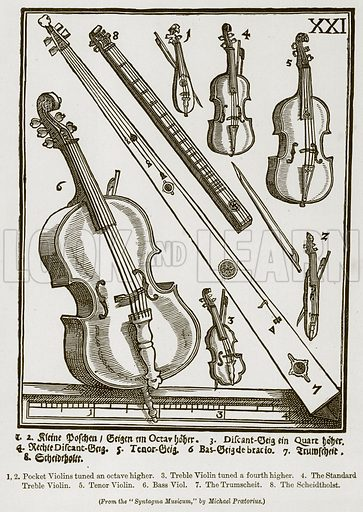 1,2. Pocket Violins Tuned an Octave Higher. 3. Treble Violin Tuned a Fourth Higher. 4. The Standard Treble Violin. 5. Tenor Violin. 6. Bass Viol. 7. The Trumscheit. 8. The Scheidtholst. Illustration for The History of Music by Emil Naumann (Cassell, c 1890).