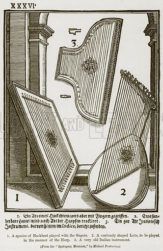 1. A Species of Hackbret Played with the Fingers. 2. A Curiously Shaped Lute, to be Played in the Manner of the Harp. 3. A Very Old Italian Instruement. Illustration for The History of Music by Emil Naumann (Cassell, c 1890).