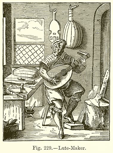 Lute-Maker. Illustration for The History of Music by Emil Naumann (Cassell, c 1890).