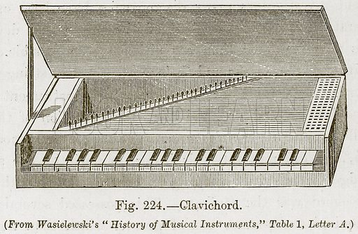 Clavichord. Illustration for The History of Music by Emil Naumann (Cassell, c 1890).