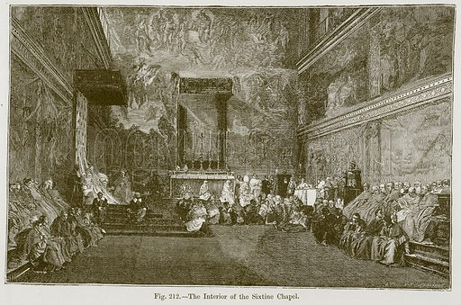 The Interior of the Sixtine Chapel. Illustration for The History of Music by Emil Naumann (Cassell, c 1890).