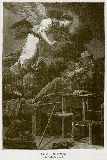 St Francis. Illustration for The History of Music by Emil Naumann (Cassell, c 1890).