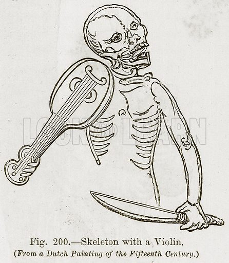 Skeleton with a Violin. Illustration for The History of Music by Emil Naumann (Cassell, c 1890).