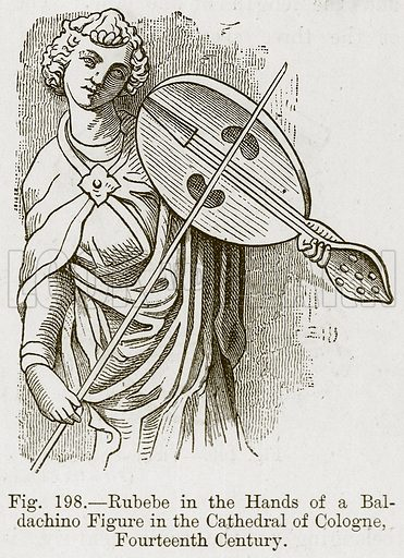 Rubebe in the Hands of a Baldachino Figure in the Cathedral of Cologne, Fourteenth Century. Illustration for The History of Music by Emil Naumann (Cassell, c 1890).
