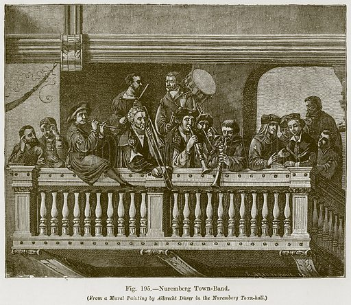 Nuremberg Town-Band. Illustration for The History of Music by Emil Naumann (Cassell, c 1890).